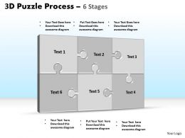 3D puzzle process stages 6 powerpoint slides and ppt templates 0412