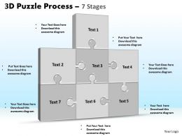 3D puzzle process stages 7 powerpoint slides and ppt templates 0412