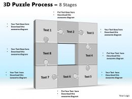 3D puzzle process stages 8 powerpoint slides and ppt templates 0412