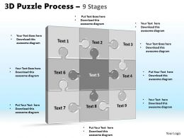 3D puzzle process stages 9 powerpoint slides and ppt templates 0412