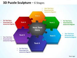 3d puzzle sculpture 6 stages powerpoint diagrams presentation slides graphics 0912