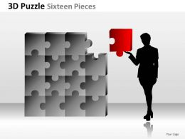 3D Puzzle Sixteen Pieces Powerpoint Presentation Slides
