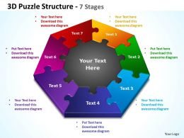 3d puzzle structure 7 stages powerpoint templates graphics slides 0712