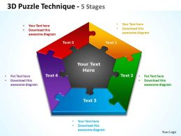 3d puzzle technique 5 stages powerpoint templates graphics slides 0712
