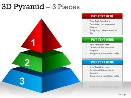 3D Pyramid 3 Pieces Powerpoint Presentation Slides