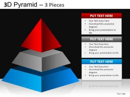 3D Pyramid 3 Pieces Powerpoint Presentation Slides DB