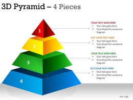 3D Pyramid 4 Pieces Powerpoint Presentation Slides