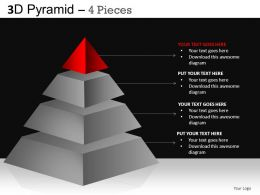 3D Pyramid 4 Pieces Powerpoint Presentation Slides DB
