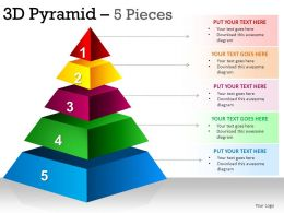 3D Pyramid 5 Pieces Powerpoint Presentation Slides