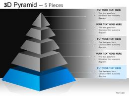 3D Pyramid 5 Pieces Powerpoint Presentation Slides DB