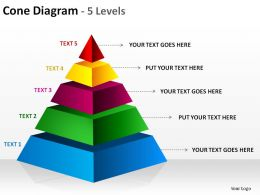 3d pyramid cone diagram 5 levels split separated ppt slides presentation diagrams templates powerpoint info graphics