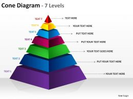 3d pyramid cone diagram 7 levels split separated slides diagrams templates powerpoint info graphics