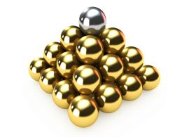 3D Pyramid Of Balls With Silver Ball On Top Stock Photo