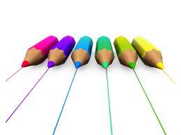 3D Rainbow Colors Pencils Stock Photo