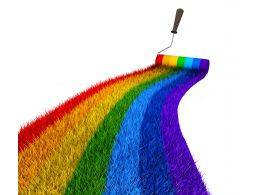 3D Rainbow Path With Brush Stock Photo