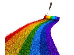3D Rainbow Path With Brush Stock Photo