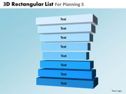 3D Rectangular List For Planning 5 Powerpoint Slides And Ppt Templates DB