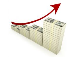 3D Red Arrow For Growth With Dollar Bar Graph Stock Photo