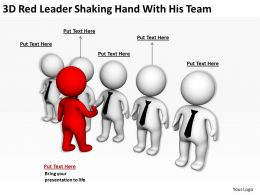 3D Red Leader Shaking Hand With His Team Ppt Graphics Icons Powerpoint
