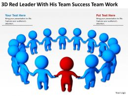 3D Red Leader With His Team success team work Ppt Graphics Icons