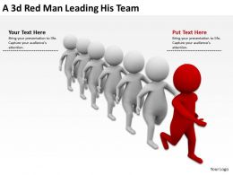 3D Red Man Leading His Team Ppt Graphics Icons