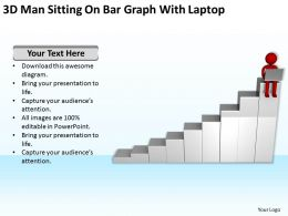 3D Red Man Sitting On Bar Graph With Laptop Ppt Graphics Icons Powerpoint