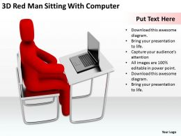 3D Red Man Sitting With Computer Ppt Graphics Icons