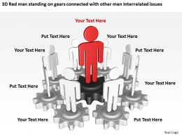 3D Red man standing on gears connected with other men Interrelated issues Ppt Graphic Icon