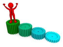 3d Red Man Standing On Gears For Success Stock Photo