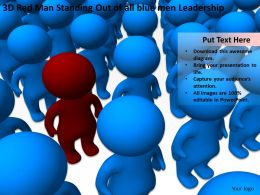 3D Red Man Standing Out of all blue men Leadership Ppt Graphics Icons