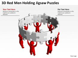 3D Red Men Holding Jigsaw Puzzles Ppt Graphics Icons Powerpoint