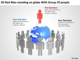 3D Red Men standing on globe With Group Of people Ppt Graphic Icon