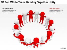 3D Red White Team standing together unity Ppt Graphics Icons