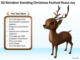3D Reindeer standing christmas festival peace joy Ppt Graphics Icons