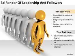 3d Render Of Leadership And Followers Ppt Graphics Icons Powerpoint