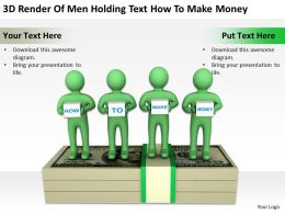 3D Render Of Men Holding Text How To Make Money Ppt Graphics Icons Powerpoint