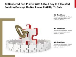 3d Rendered Red Puzzle With A Gold Key In It Isolated Solution Concept Do Not Leave It All Up To Fate