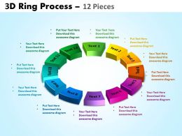 3D ring process 12 pieces powerpoint slides and ppt templates 0412