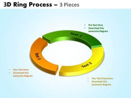 3D ring process 3 pieces powerpoint slides and ppt templates 0412