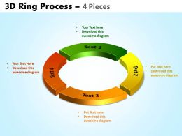 3D ring process 4 pieces powerpoint slides and ppt templates 0412