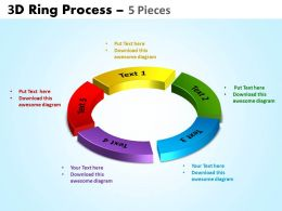 3D ring process 5 pieces powerpoint slides and ppt templates 0412
