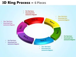 3D ring process 6 pieces powerpoint slides and ppt templates 0412