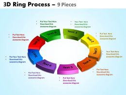 3D ring process 9 pieces powerpoint slides and ppt templates 0412