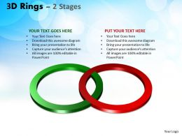3D Rings 2 Stages flow Ppt Templates 1