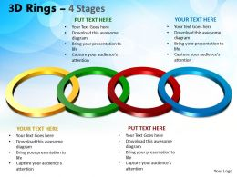 3D Rings 4 Stages Ppt Templates 2