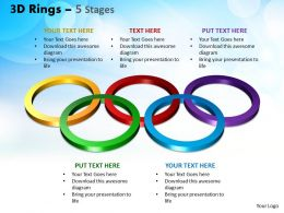 3D Rings 5 Stages Powerpoint