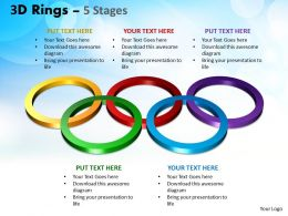3D Rings 5 Stages Powerpoint Templates 1