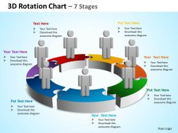 3d rotation chart 7 stages powerpoint diagrams presentation slides graphics 0912