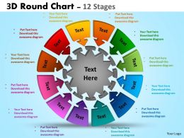 3D Round Chart 12 Stages diagram Ppt Templates 3