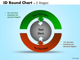 3D Round Chart 2 Stages diagram Ppt Templates 3